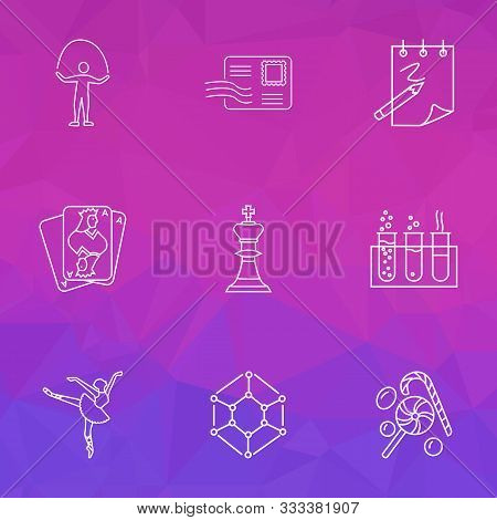 Entertainment Icons Line Style Set With Candy, Ballet, Sketching Envelope Elements. Isolated Vector