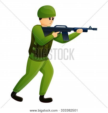 Infantry Soldier Icon. Cartoon Of Infantry Soldier Vector Icon For Web Design Isolated On White Back
