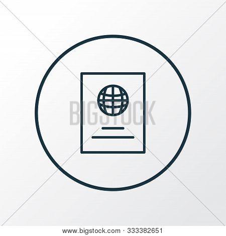 Passport Icon Line Symbol. Premium Quality Isolated Citizenship Element In Trendy Style.