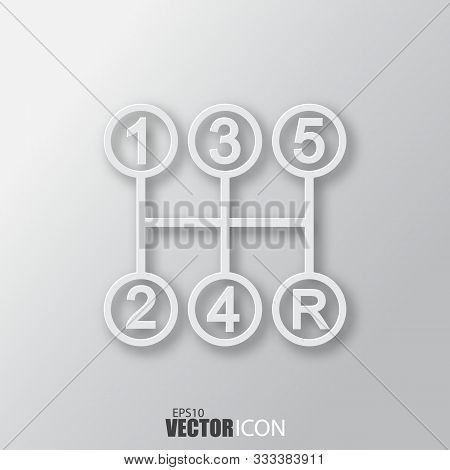 Stick Shift Icon In White Style With Shadow Isolated On Grey Background.