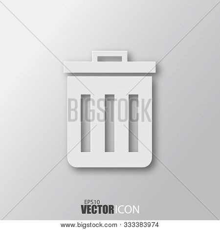 Trash Icon In White Style With Shadow Isolated On Grey Background.