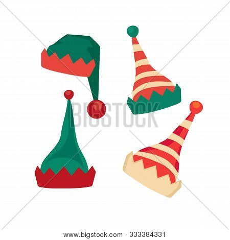 Santa Claus Helper Elf Hat Icon Flat Vector Set Isolated. Christmas Elves Hat Sign. Traditional Head