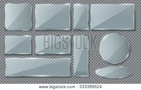 Set Of Isolated Realistic Blue Glass In Round And Oval, Square And Rectangle Form. Plate Or Plaque W