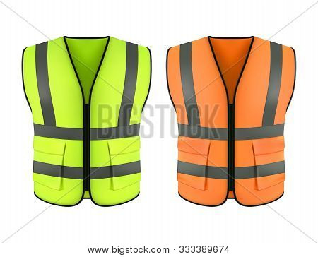 Set Of Realistic Reflective Orange Vest Or Green Construction Jacket. Clothing Form Or Safety Cloth,