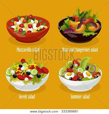 Set Of Isolated Salad In Bowl For Restaurant Menu. Greek Lettuce And Mozzarella Dish, Ham And Tanger
