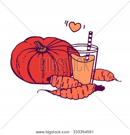 Pumpkin And Carrot Juice Or Smoothie With A Whole Pumpkin And 3 Carrots. Hand-drawn In Cartoon Style