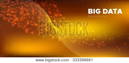 Matrix Data Stream. Glow Science Wallpaper. Shine Gold Technology Poster. Digital Binary Waves. Matr