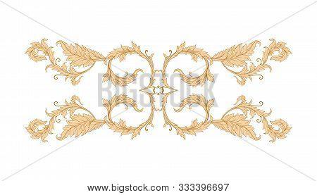 Elements In Baroque, Rococo, Victorian, Renaissance Style. Trendy Floral Vintage Pattern. Vector Ill