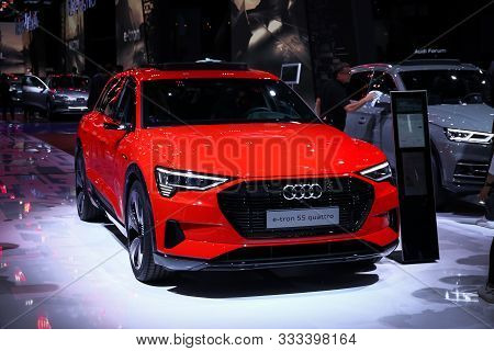 Frankfurt Am Main, Germany - September 17, 2019: Electric Concept Car Audi E-tron 55 Quattro At The