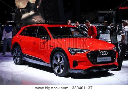 Frankfurt Am Main, Germany - September 18, 2019: All-electric Concept Car Audi E-tron 55 Quattro At