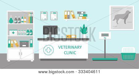 Vet Clinic Reception Room Or Hospital Holl Interior In Flat Style. Medicine Concept. Vector Illustra