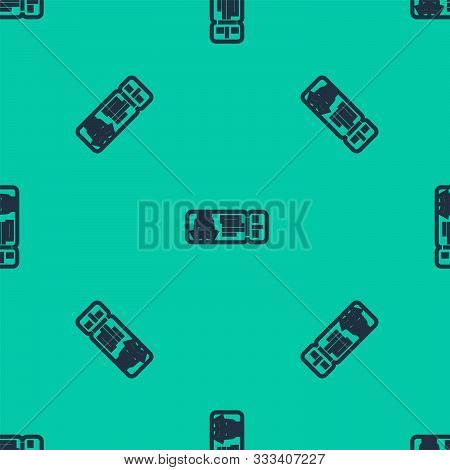 Blue Line Cruise Ticket For Traveling By Ship Icon Isolated Seamless Pattern On Green Background. Tr