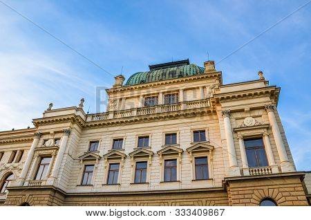 The Historical Building Of The Theatre In Pilsen, Bohemia, Czech Republic. House Built In The Neo-re