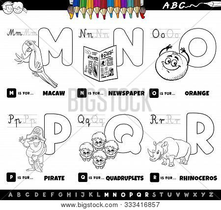 Black And White Cartoon Illustration Of Capital Letters Alphabet Educational Set For Reading And Wri
