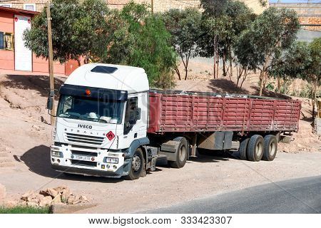 Al Haouz Province, Morocco - September 23, 2019: White Semi-trailer Truck Iveco Stralis At430 At The