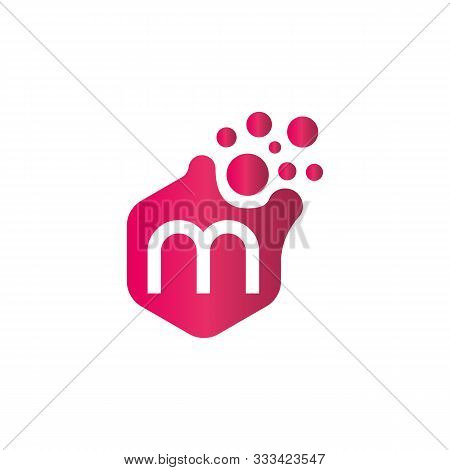 M Dots Logo Design Template. Hexagon M Icon. M Letter Logo Vector. Hexagon Logo. M Letter.