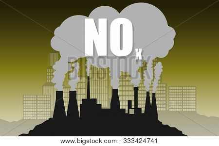 Environmental Concept Of Nitrogen Oxides Or Nox Air Pollution, 3d Rendering
