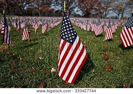 American Flag In A Sea Of Flags On A Bright Sunny Day. The U.s. Flag, Is The National Flag Of The Un