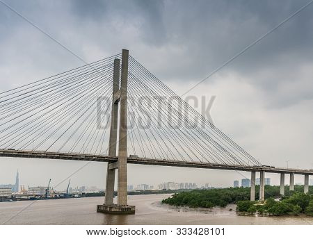 Ho Chi Minh City, Vietnam - March 12, 2019: Long Tau And Song Sai Gon Rivers Meeting Point. Landscap