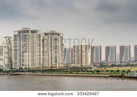 Ho Chi Minh City, Vietnam - March 12, 2019: Song Sai Gon River. High Rise Apartment Buildings Form S