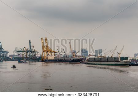 Ho Chi Minh City, Vietnam - March 12, 2019: Song Sai Gon River. Interlink Equity And Copacabana, 2 C