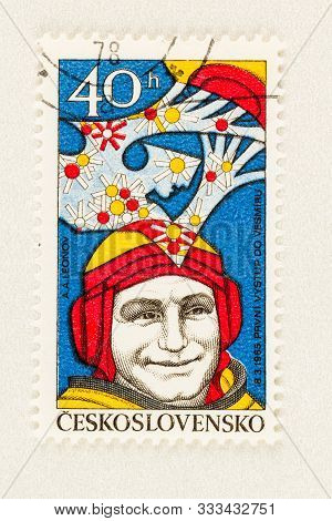 Seattle Washington - October 4, 2019: Czechoslovakia Postage Stamp Of 1977 Featuring Cosmonaut Alexe