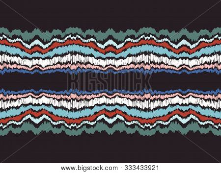 Ikat Border. Geometric Folk Ornament. Ink On Clothes. Tribal Vector Texture. Seamless Striped Patter