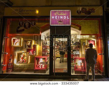 Vienna, Austria - November 6, 2019: Heindl Confiserie Logo In Front Of Their Main Shop For Vienna. H