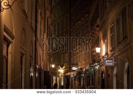 Vienna, Austria - November 6, 2019: Kurrentgasse Street, A Typical Narrow Street Of Innere Stadt, Th