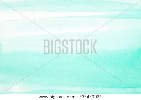 Watercolor Background, Art Abstract Surface Green Watercolor Painting Textured Design On White Paper