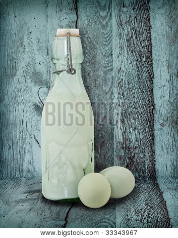 Vintage Milk Bottle and Eggs In Turquoise Barn