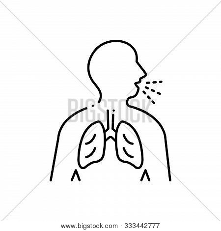 Black Line Icon For  Asthma Inhaler  Respiration-trouble Wheezing Breathe-need