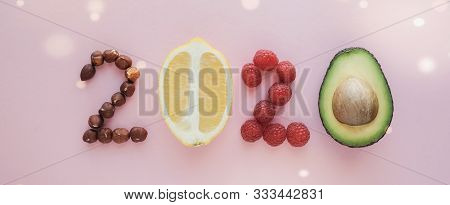 2020 Made From Healthy Food On Pastel Background, Healthy New Year Resolution Diet And Lifestyle