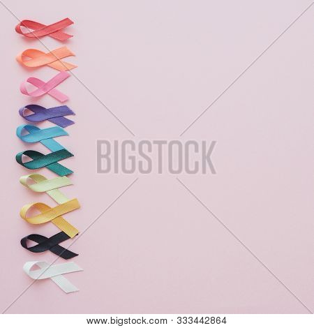 Colorful Ribbons On Pink Background, Cancer Awareness, World Cancer Day