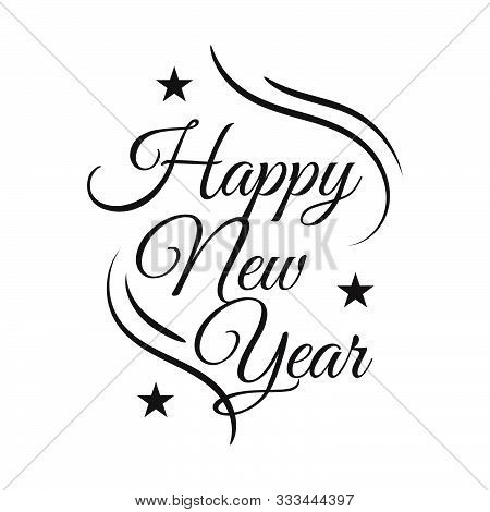 New Flat Styles Hand Drawn Happy New Year 2020 Lettering Vector Illustration Background Concept Imag