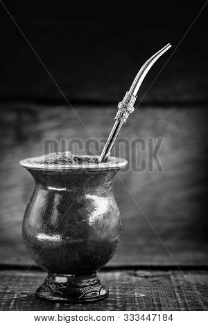 A Typical Brazilian Drink, O Chimarrão, Or Mate, Is A Character, Black And White Photography, Drink