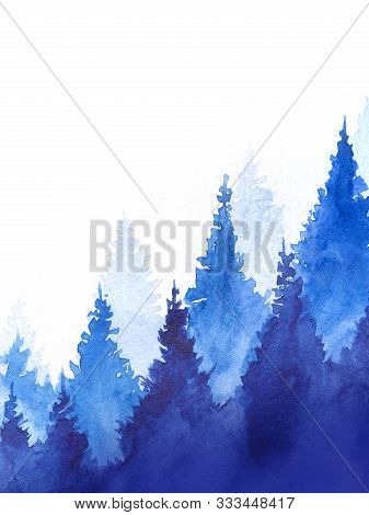 Abstract Watercolor Background. Conical Blue Silhouettes Of Tall Fir Trees. Graduations From Light B