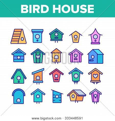 Bird House Collection Elements Icons Set Vector Thin Line. Different Style Wooden Bird House, Shelte