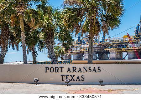 An Entrance Road Going To Port Aransas, Texas