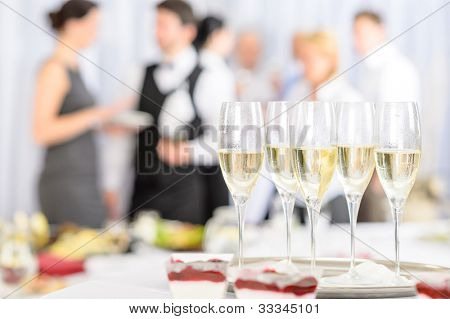 Aperitif champagne for business meeting conference participants