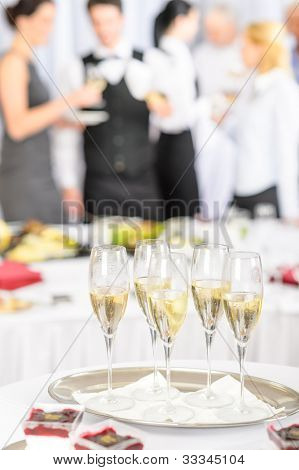 Champagne toast glasses for business meeting conference participants