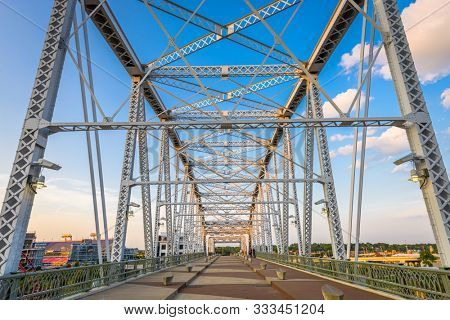John Seigenthaler Pedestrian Bridge in Nashville, TN, USA.