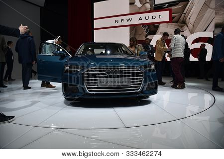 Geneva, Switzerland, March 06-2018: Audi A6 Limousine 50 Tdi Quattro Presented At Gims