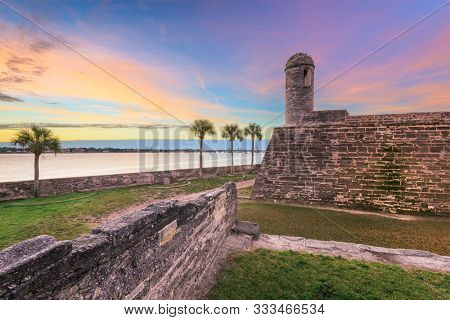 St. Augustine, Florida at the Castillo de San Marcos National Monument at dusk.