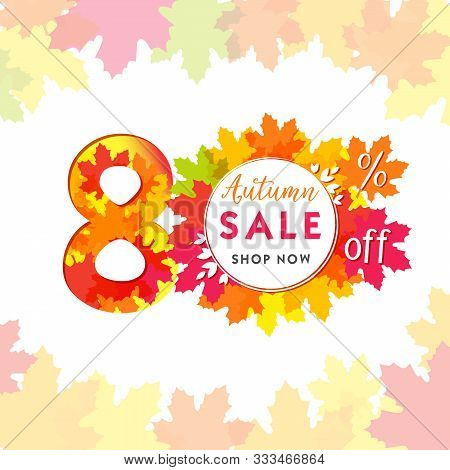 80 Autumn Red Logotype. Colorful Foliage, Frame And White Paper Background. Calendar Numbers Idea. 8