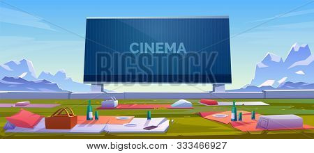 Outdoor Cinema, Open Air Movie Theater With Blankets, Barbeque Baskets With Meal And Wine Bottles On