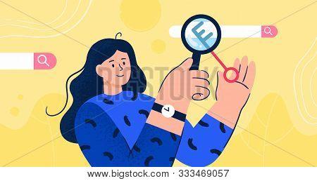 Seo Optimization Vector Concept. Girl Looking For Keywords And Semantic Core. Stylish Flat Illustrat