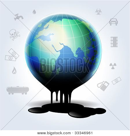 Earth Oil Dripping Illustration