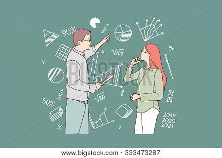 Business, Study, Strategy, Question, Teamwork Concept. Young Man, Woman Businessman Or Teacher Decid