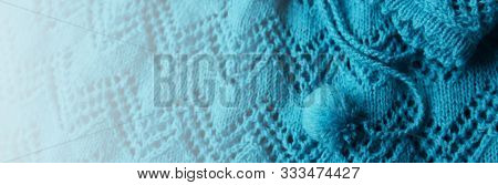 Abstract Knitting Fabric Background. Turquoise Blue White Texture Background From Merino Knitted Bla